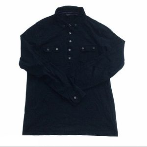 TED BAKER black long sleeve half buttoned shirt